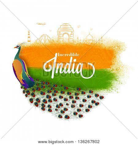 Incredible India vector illustration with Indian National Bird, Peacock and Famous Monuments, Creative Tricolor Background for Happy Independence Day or Republic Day celebration.