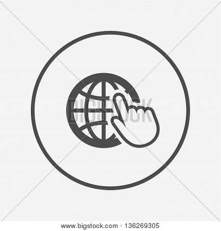 Internet sign icon. World wide web symbol. Flat internet icon. Simple design internet symbol. Internet graphic element. Round button with flat internet icon. Vector
