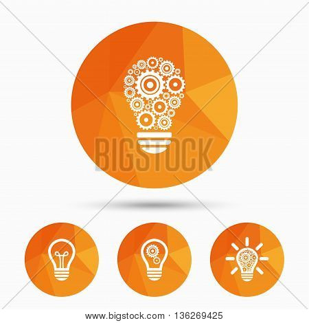 Light lamp icons. Lamp bulb with cogwheel gear symbols. Idea and success sign. Triangular low poly buttons with shadow. Vector