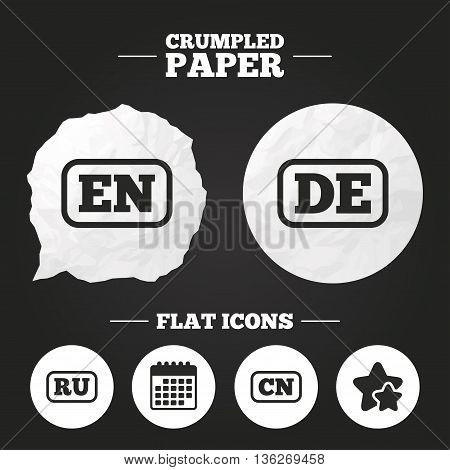 Crumpled paper speech bubble. Language icons. EN, DE, RU and CN translation symbols. English, German, Russian and Chinese languages. Paper button. Vector