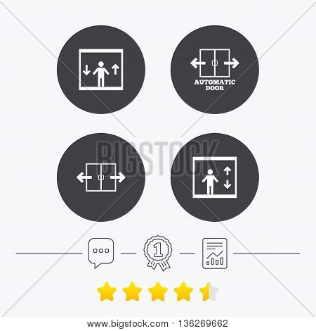Automatic door icons. Elevator symbols. Auto open. Person symbol with up and down arrows. Chat, award medal and report linear icons. Star vote ranking. Vector