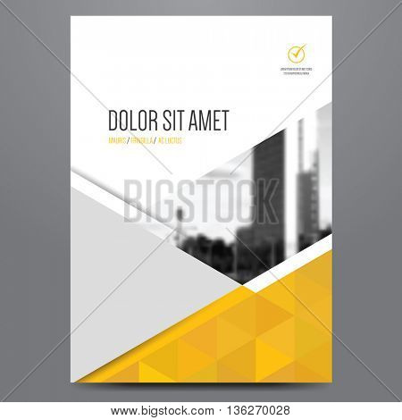 Geometric business brochure, flyer, poster, annual report, magazine cover vector template. Modern yellow and grey corporate flat design.