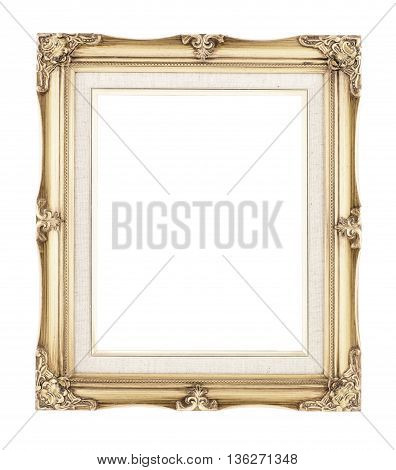 Empty Rich Gold Gilded Wood With Inner Canvas Vintage Frame On White Background