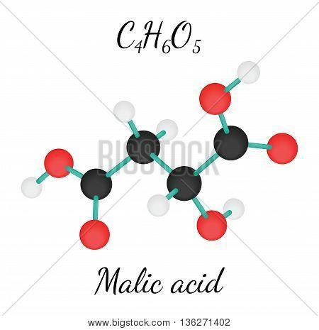 C4H6O5 Malic acid 3d molecule isolated on white
