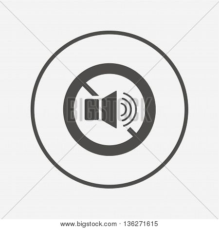 Speaker volume sign icon. No Sound symbol. Flat no sound icon. Simple design no sound symbol. No sound graphic element. Round button with flat no sound icon. Vector poster