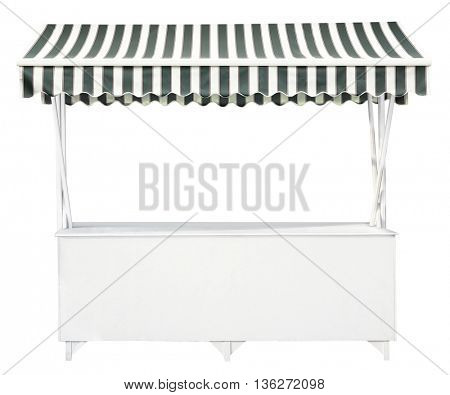 White market stall with striped awning