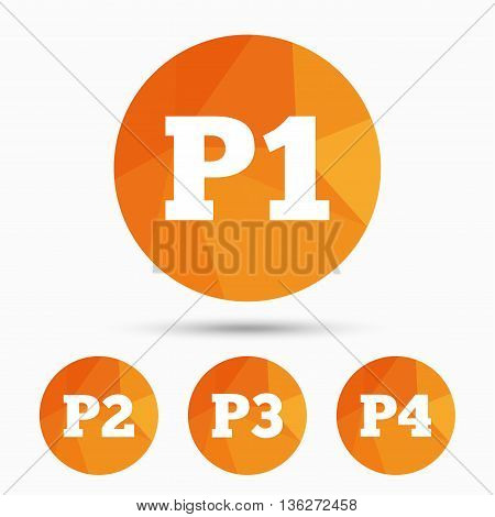 Car parking icons. First, second, third and four floor signs. P1, P2, P3 and P4 symbols. Triangular low poly buttons with shadow. Vector poster