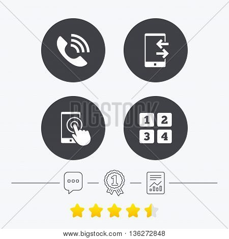 Phone icons. Touch screen smartphone sign. Call center support symbol. Cellphone keyboard symbol. Incoming and outcoming calls. Chat, award medal and report linear icons. Star vote ranking. Vector
