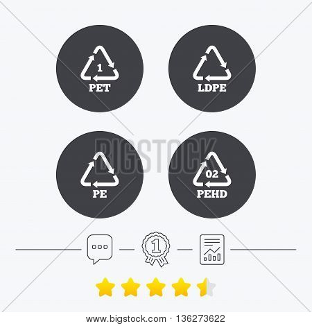 PET, Ld-pe and Hd-pe icons. High-density Polyethylene terephthalate sign. Recycling symbol. Chat, award medal and report linear icons. Star vote ranking. Vector