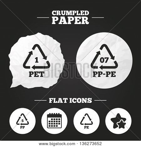 Crumpled paper speech bubble. PET 1, PP-pe 07, PP 5 and PE icons. High-density Polyethylene terephthalate sign. Recycling symbol. Paper button. Vector