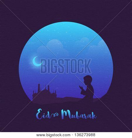 Religious Muslim Boy offering Namaz (Islamic Prayer) in front of a Mosque in night, Beautiful Islamic Background, Elegant Greeting Card design for Muslim Community Festival, Eid Mubarak celebration.