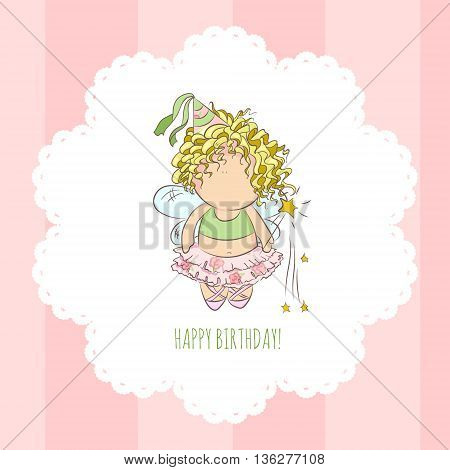 cute vector illustration of a fairy with magic stick. doodle. happy birthday card.