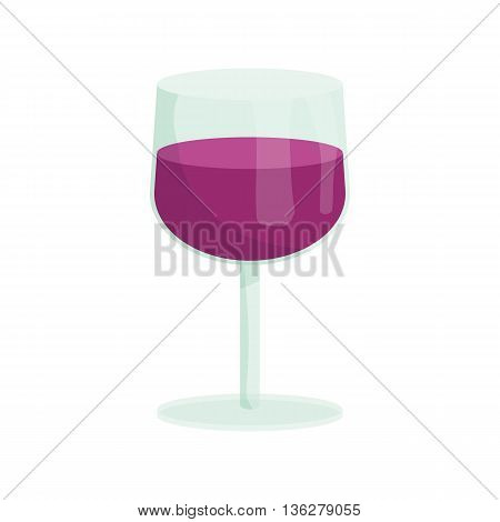 Glass of wine icon in cartoon style on a white background