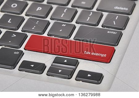 Keyboard  Button Written Word Tax Exempt