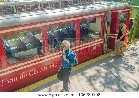 Corcovado Train Transporting Tourists Daily To Statue Christ Redeemer.