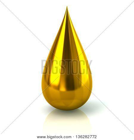 3D Illustration Of Golden Paint Ink Drop Icon