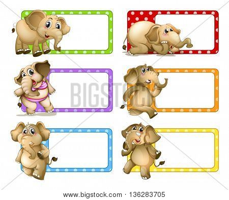 Polkadot labels with elephants illustration