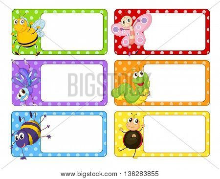 Polkadot labels with many insects illustration