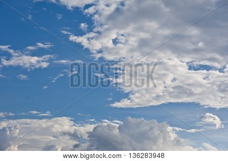 Beautiful White Cloud Cloudy Nimbus Blue Sky Nature Landscape Background Abtract Summer Spring