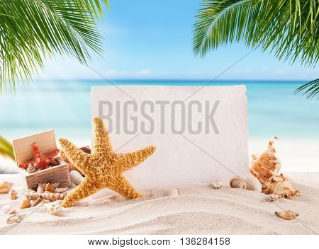 Tropical beach with various shells in sand, blank old paper for copyspace. Concept of summer relaxation