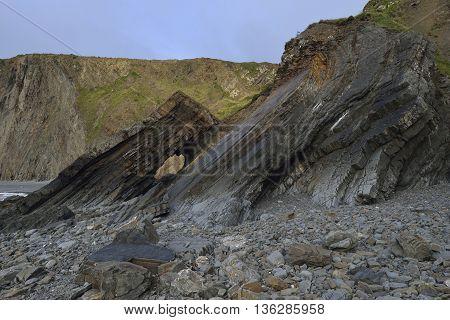 Folded Rock Strata on Broad Beach Hartland Quay Bideford Devon