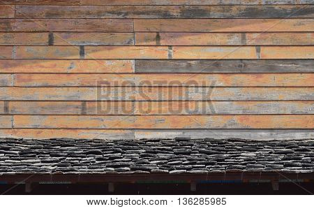 wooden wall and eaves on Thai traditional home