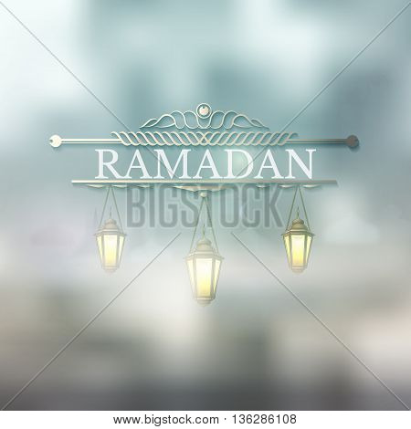 Ramadan Kareem islamic background with Lamp and silhouette mosque. Arabic vector Lamp on shiny abstract background for Ramadan Kareem. Handing illuminated lamp with text,  light, blur and bokeh