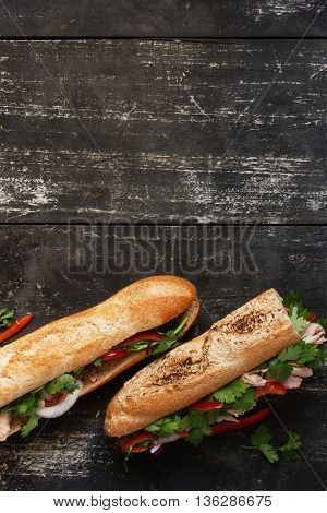 Two tuna sandwich with cilantro, onions, peppers on dark wood background, top view upright