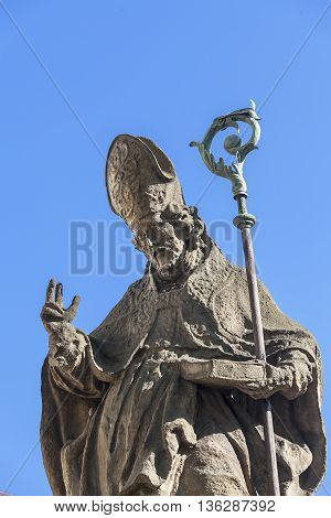 18 century Baroque statue of Bishop St Stanislaus Church on Skalka Pauline Fathers Monastery Krakow Poland.