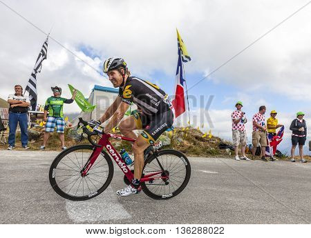 Col de la Croix de Fer, France - 25 July 2015:The American cyclist Tyler Farrar of MTN-Qhubeka Team in the peloton riding to the Col de la Croix de Fer in Alps during the stage 20 of Le Tour de France 2015.