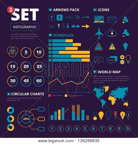 Vector set of infographics elements. Graphis, charts and thematic icons pack. Infographic illustration isolate on dark background poster