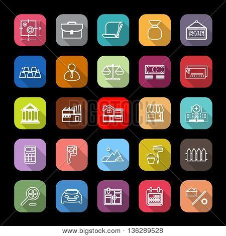 Mortgage and home loan line icons with long shadow stock vector
