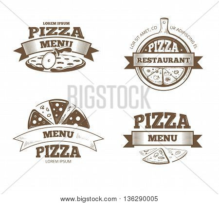 Pizza menu restaurant vector labels, logos, badges, emblems set. Logo for italian pizzeria, restaurant emblem with pizza illustration