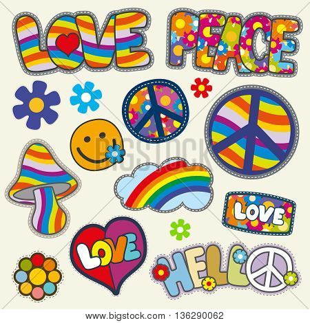 Vintage hippie patches vector set. Set of patches hippie flower and heart, hippie element with color pattern illustration
