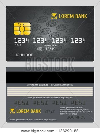 Commercial bank credit card isolated sales model vector template. Debit plastic card and classic personal bank card illustration