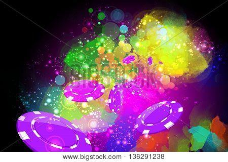 Creative colorful artistic casino background design concept