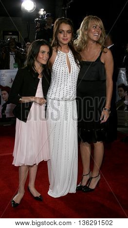 Ali Lohan, Lindsay Lohan and Dina Lohan at the Los Angeles premiere of 'Just My Luck' held at the Mann National Theater in Westwood, USA on May 9, 2006.