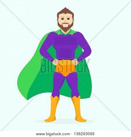 Illustration superman. Man beard.  Vector Superhero flat illustration
