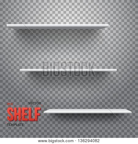 Illustration of Realistic Vector Shelf. Vector Shelf on Wall. Realistic Shelf on Transparent Background
