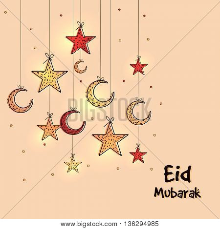 Eid Mubarak Greeting Card design with hanging crescent moons and stars, Beautiful Islamic Background for Muslim Community Holy Festival celebration.
