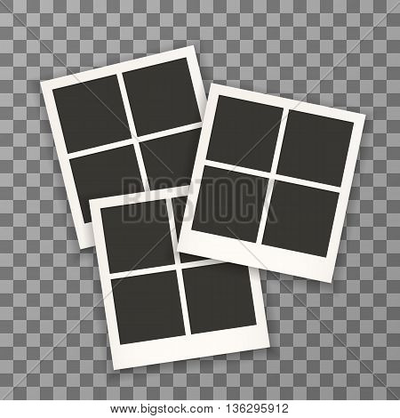 Set Of Retro Photo Frames For Document. Photo Frame Isolated On A Background. Photo Frame Mock Up. P