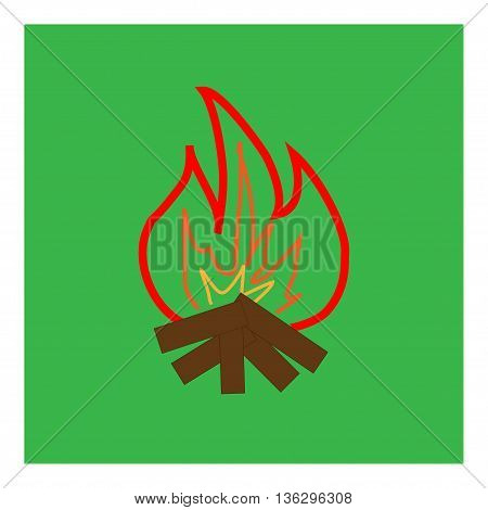 Kindle campfire sign in green square. Isolated on green background. Kindle campfire symbol marks. Kindle campfire sign picture. Green sticker vector illustration Flat vector image Vector illustration