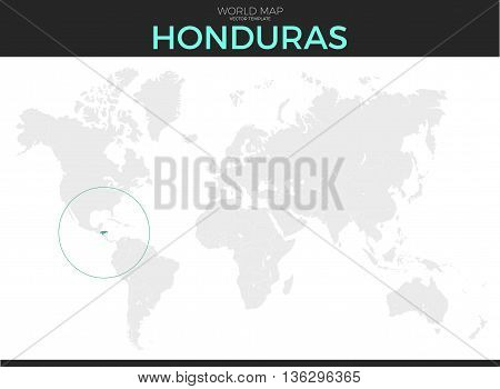 Republic of Honduras location modern detailed vector map. All world countries without names. Vector template of beautiful flat grayscale map design with selected country and border location