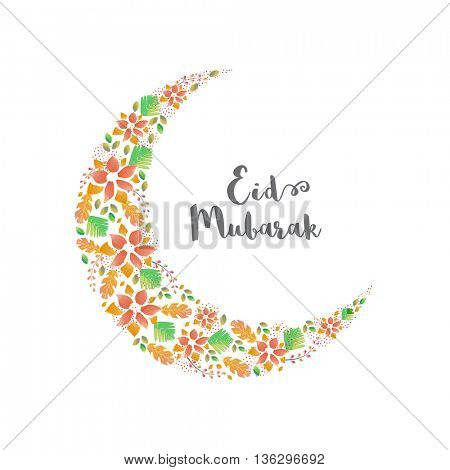 Creative Crescent Moon made by watercolor flowers on white background, Elegant Beautiful Greeting Card design for Islamic Holy Festival, Eid Mubarak celebration.