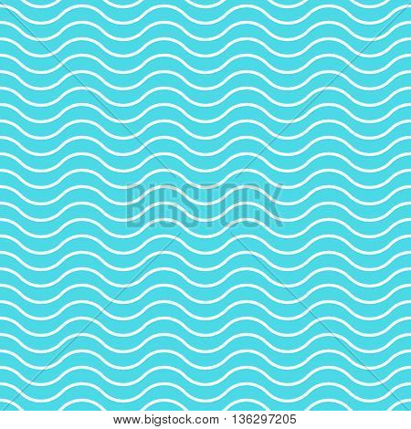 Wave background vector seamless pattern, blue and white wave lines, abstract waved geometric effect backdrop texture illustration
