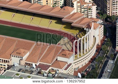 Fontvieille Monaco - June 1 2016: Aerial view of Stade Louis II in Monaco south of France