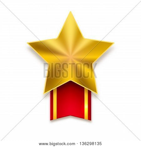 Golden star with red ribbon on white background. Yellow metal star with flare and red ribbon with yellow stripes
