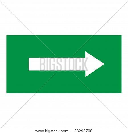 Arrow sign white icon in green rectangle. Isolated on white background. Vector to right symbol marks. Arrow sign picture. Green sticker vektor illustration. Flat vector image. Vector illustration.