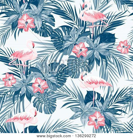 Indigo tropical summer seamless pattern with flamingo birds and exotic flowers, vector illustration, vector illustration