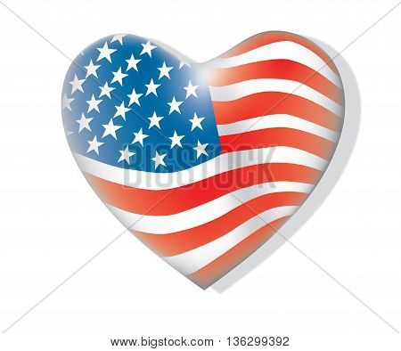 United States flag. USA Independence Day background. Fourth of July celebrate. heart shape.